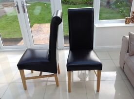 Brown Leather Dining Room Chairs x6