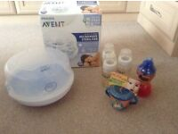 Avent microwave steriliser, spare bottles and feeding items