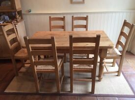Solid Pine Table and Beech Chairs