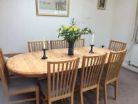 Pine dining room table seats 8 - 10