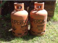 2 X Butane Gas Bottles , used.