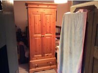 SOLID COUNTRY PINE TWO DOOR ONE DRAWER WARDROBE