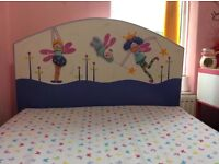 GIRLS WOODEN FAIRY TALE BED WITH SPRING MATTRESS