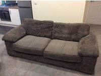 Three seater grey material sofa