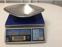 Excell retail weighing scales with stainless steel scoop pan