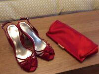 Monsoon red sandals size 5 and matching bag