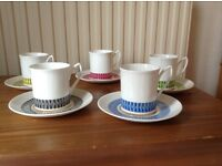 Vintage 'Calypso' Elizabethan Bone China Cups & Saucers