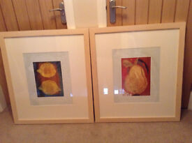 """2 X FRAMED AND MATTED PRINTS 30"""" X 34"""" SOLD!"""
