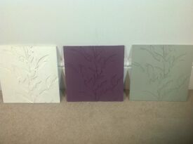 3 square resin relief wall art