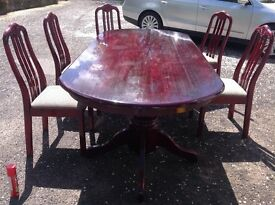 Solid Rosewood dining table and 5 chairs