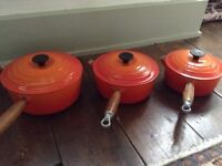 LE CREUSET 3 X SAUCEPAN & LID SET GREAT CONDITION