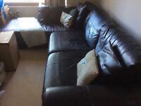 M&S black leather corner sofa