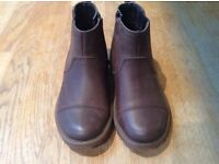 Boys brown leather Clarke's dealer boots. Size 8 1/2 - not worn