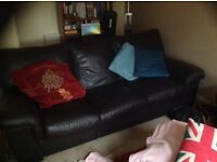 Brown leather 3-seat sofa and matching armchair