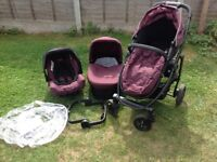 Complete Graco Evo travel system (car seat, carrycot and pushchair)