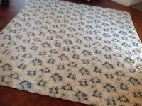 Double bed bedspread blanket. Cream and blue floral.
