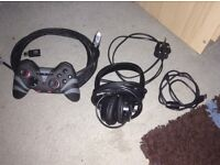 PlayStation 3 slim all cables included, gaming controller and headset