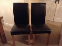 Pair High Back Dining Chairs in Brown Faux Leather