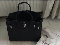 Hermes Birkin Handbag In Black Leather, With Dustbag & Original Purchase Receipt.