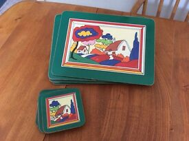 Clarice Cliff 'style' placemats and coasters