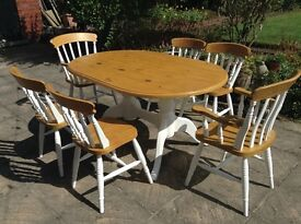 Vintage Country Farmhouse Pine Dining Table & 6 Chairs