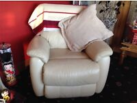 Cream leather 3 piece electric pack suite ,offer on price