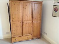 Large triple door pine wardrobe