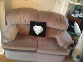 Two seater sofa pinky beige dralon