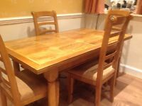 Solid hardwood extending table and 6 chairs
