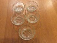 Five dessert glass bowls