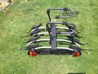 Mottez tow-bar cycle carrier/rack x 4 bikes including straps, bungees & padlock