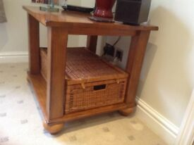 Lamp table with storage basket