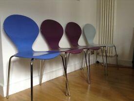 4 x Vintage Danish Set Of Rondo Chairs By Erik Jorgensen For Phoenix 70's 80's