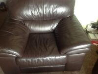 X2 arm chairs real leather sofa like new.