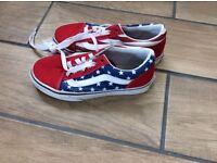 Boys girls VANS trainer shoes UK size 2 stars & stripes excellent condition Swansea