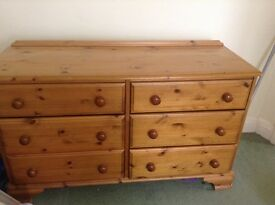 Double set of pine drawers