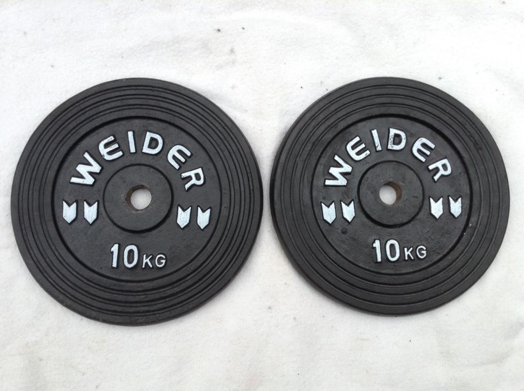 2 x 10kg Weider Standard Cast Iron Weights