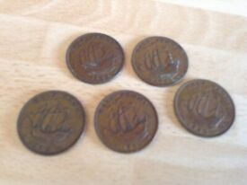 6 x British King George V1 Halfpenny Coins - 1942 (2); 1943; 1945; 1946; 1952