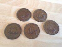 5 x British King George V1 Halfpenny Coins - 1942 (2); 1943; 1945; 1946; 1952