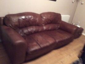 Large brown leather suite for sale. 3 seater, 2 armchairs and footstool