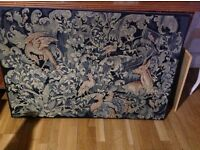 Tapestry Very Large Animals Deer Birds Vintage Antique Stunning