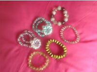 Six Pretty Glass Bracelets, elasticated so fit all
