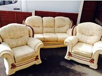 Three Seater Settee & Two Arm Chairs