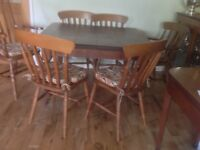 Vintage wood extending table and 6 chairs
