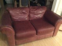 Two 2- Seater Tan brown firm leather, chic style (pick-up only please)