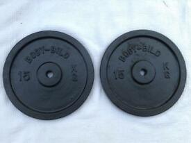 2 x 15kg Bodybild Standard Cast Iron Weights