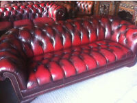 Classic oxblood red leather 3 seater chesterfield sofa