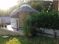 10 foot Bentwood Yurt for sale, hardly used. Includes groundsheet and small porch.