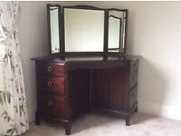 Stag mahagony coloured 6 draw 3 mirrored dressing table with cream coloured padded seat