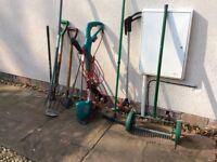 Garden tools, including Bosch strummer, scarifier, edging shears, deck brush etc